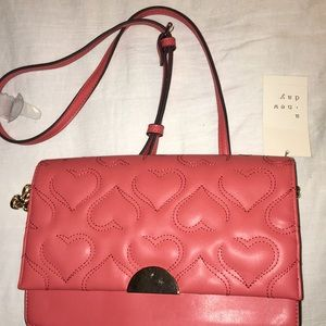 A New Day Coral Crossover Handbag Quilted Heart